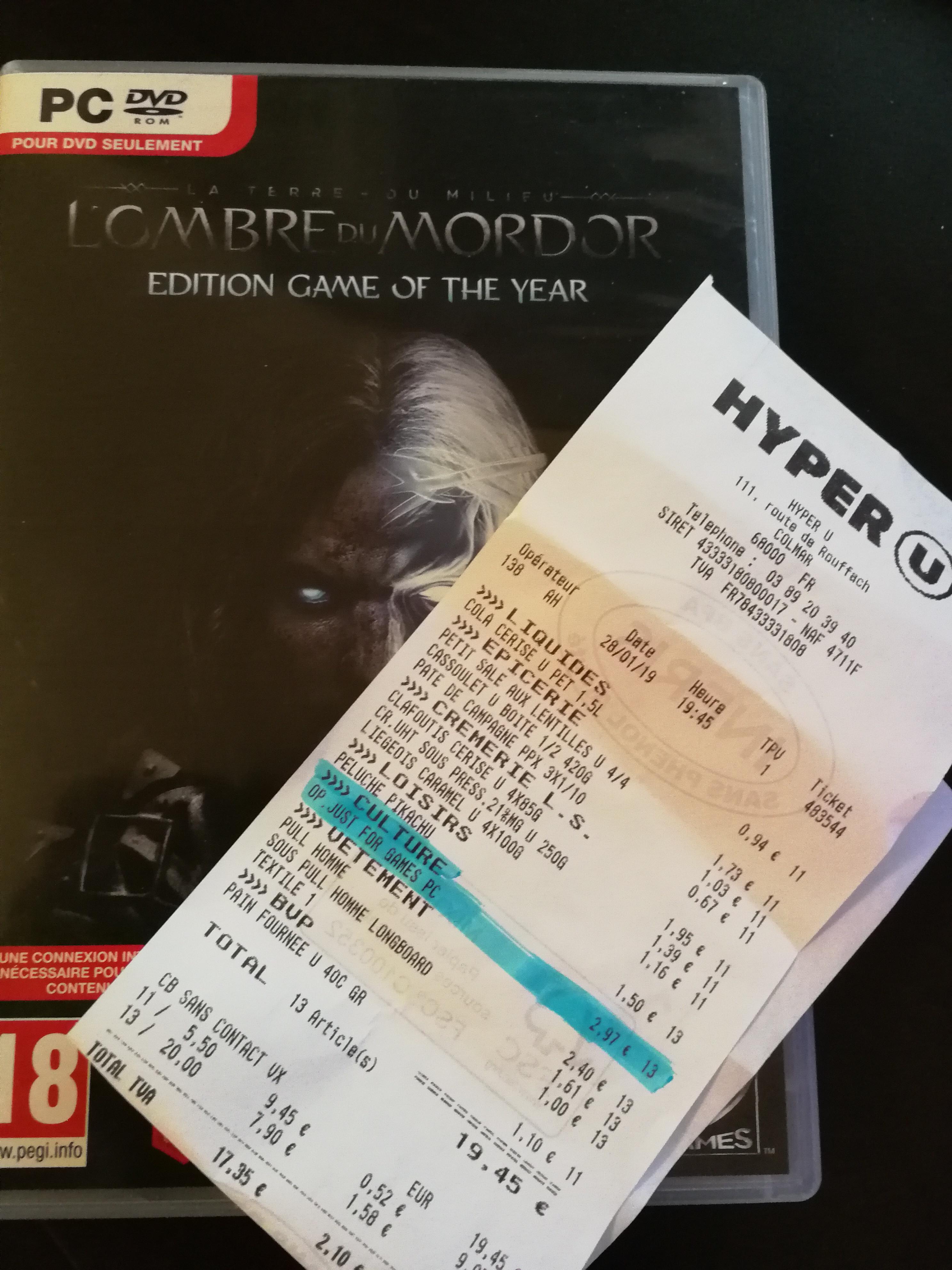 La Terre du Milieu : L'Ombre du Mordor GOTY sur PC -  Hyper U Colmar (68)