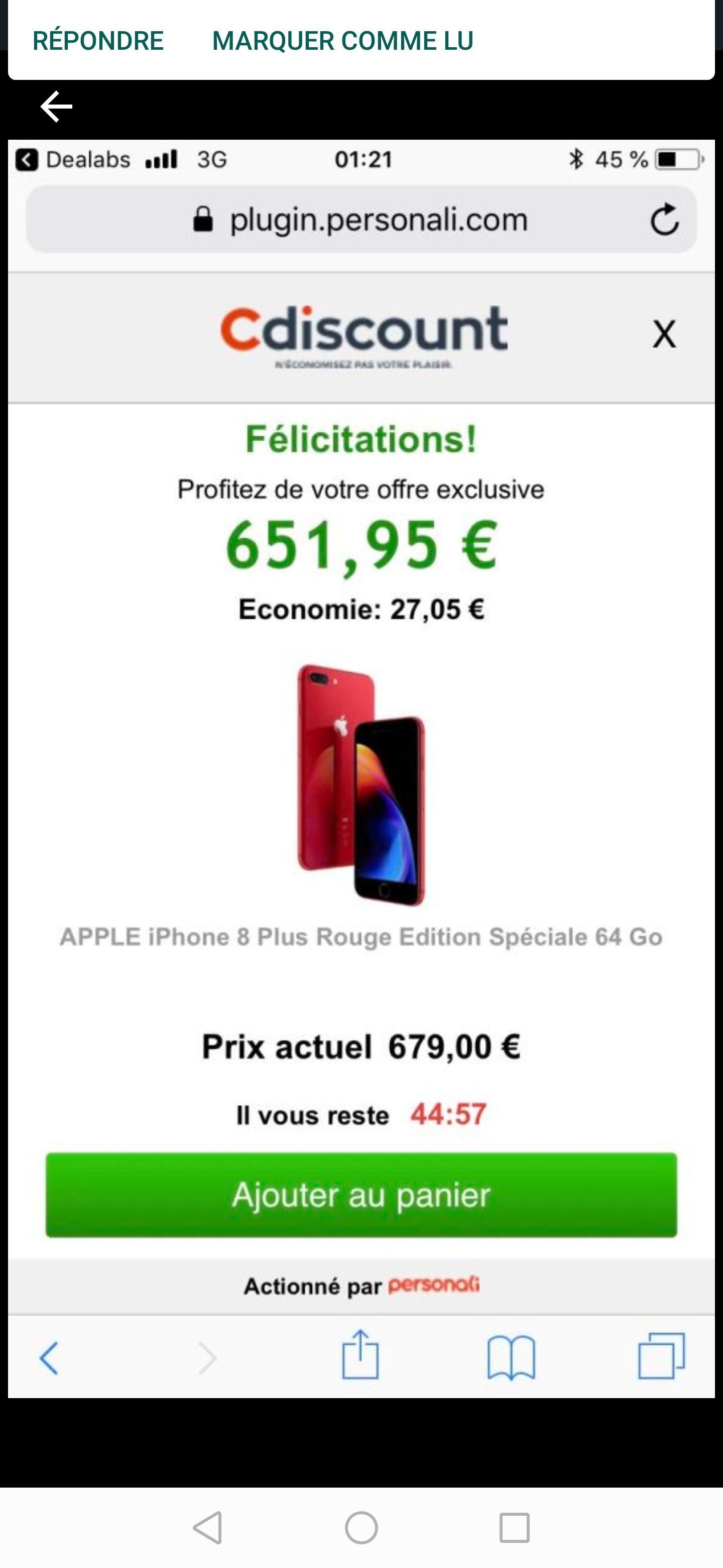 """Smartphone 5.5"""" Apple Iphone 8 Plus - 64Go"""