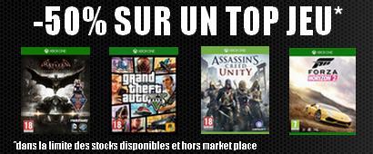 -50% sur un jeu au choix parmi une sélection (GTA V, Far Cry 4...) pour l'achat d'une console Xbox One
