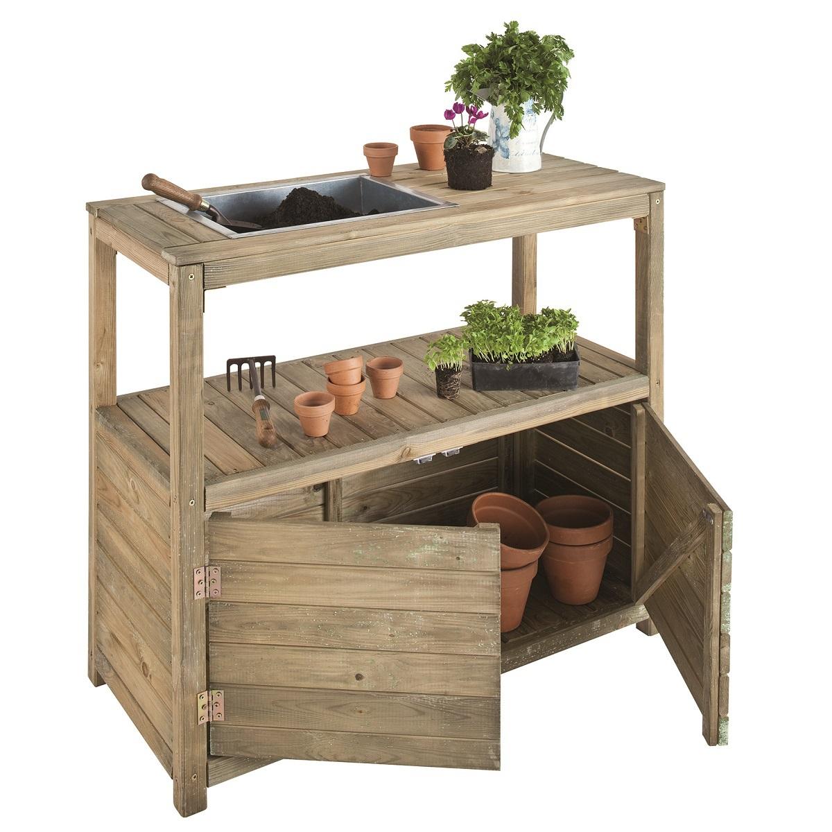 Table de préparation pour jardinage Jardipolys - 2 portes + 1 étagère, 100x45x90 cm
