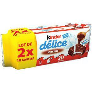 Lot de 2x10 goûters Kinder Délice Cacao (via 3,88€ sur la carte + 2 x BDR 0,50€)