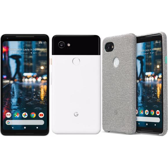 """Smartphone 6"""" Google pixel 2 XL - QHD+, Snapdragon 835, RAM 4 Go, ROM 64 Go (Blanc) + Coque tissu"""