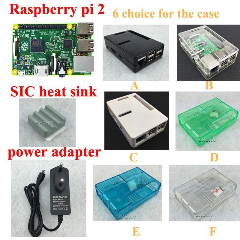 Raspberry Pi 2 modèle B + Boîtier en ABS + Dissipateur de chaleur + Adaptateur secteur 5 V 2A