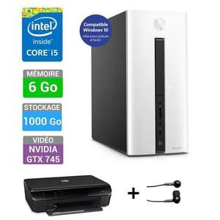Ordinateur de bureau Pavilion 550-071nf (i5, 6Go RAM) + Imprimante HP Envy 4503 + Ecouteurs HP H1000 (Avec ODR de 100€)