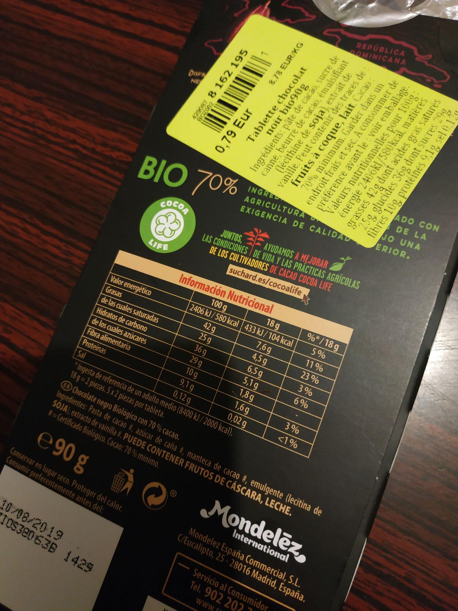 Tablette de Chocolat Noir Bio Suchard 70% - 90g - Thouars (79)