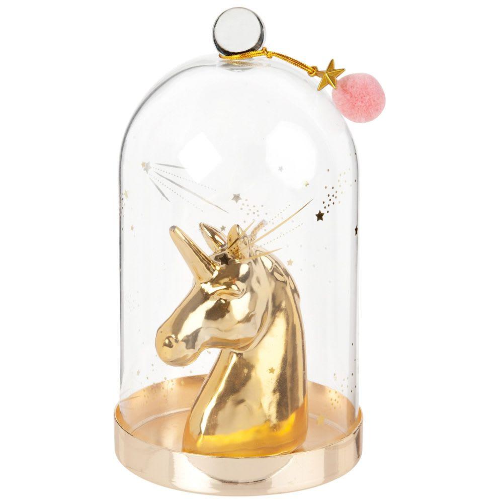 Bougie en forme de licorne dorée (Avec cloche en verre)