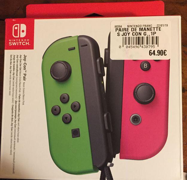 Paire de manettes Nintendo Switch Joy-Con Vert Néon et Rose Néon - Leclerc Domérat (03)