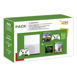 Pack Fnac Console Microsoft Xbox One S 1 To + 2ème Manette + PUBG + AC Odyssey + Carte Game Pass 3 mois + Carte Xbox Live 6 mois