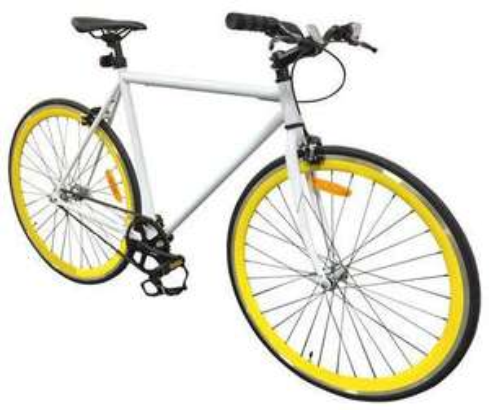Vélo fixie singlespeed 164 x 60 x 95 cm - Blanc et jaune