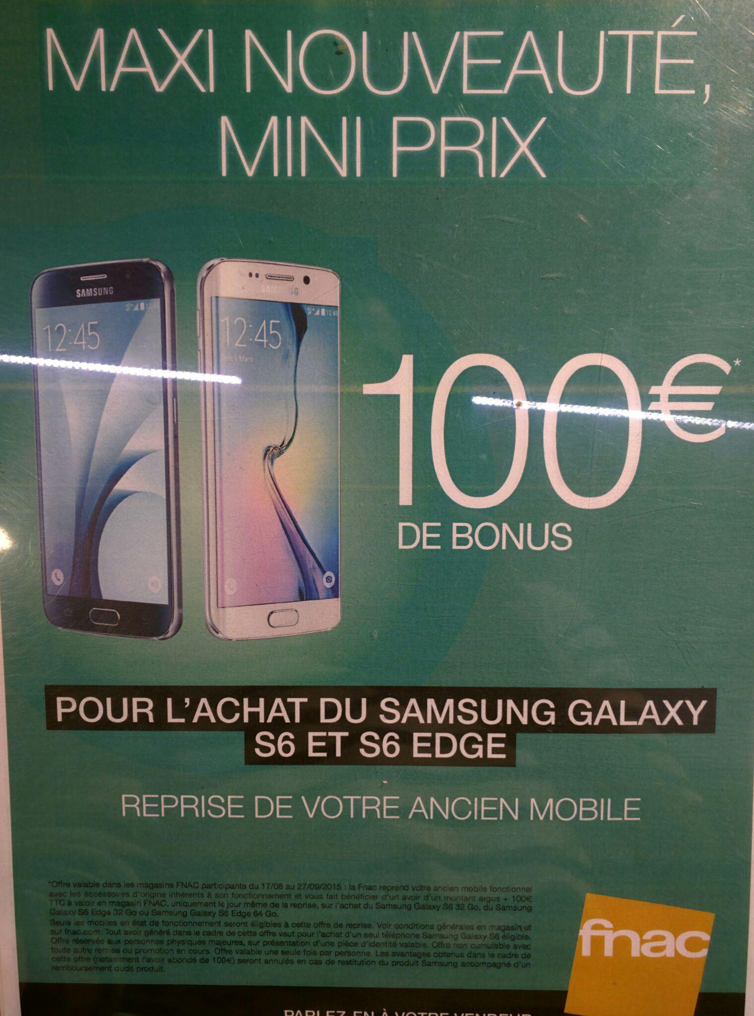 100€ de réduction pour l'achat d'un Smartphone Samsung Galaxy S6 / S6 Edge / S6 Edge+ avec la reprise d'un ancien téléphone - Ex : Galaxy S6 - 32 Go