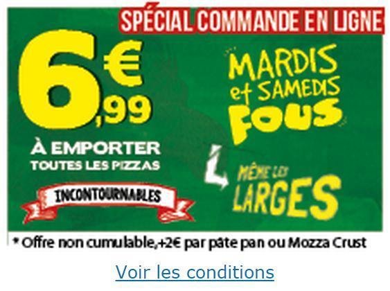1€ de réduction en commandant en ligne, soit la pizza Large