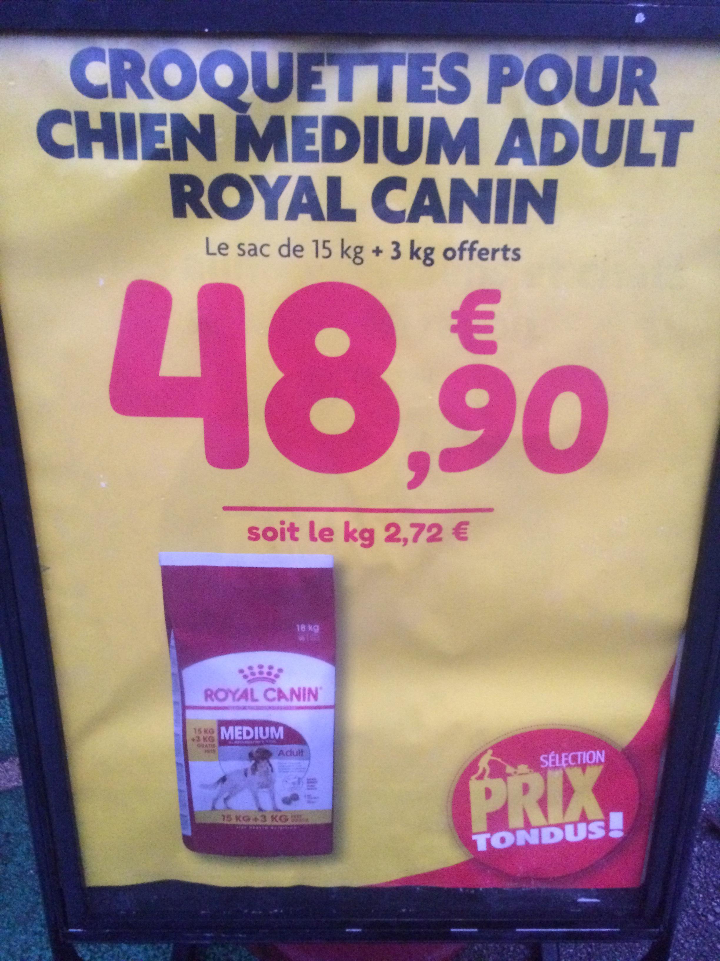 Croquettes chien Royal canin médium adulte (18 Kg) - Point Vert Quintin (22)