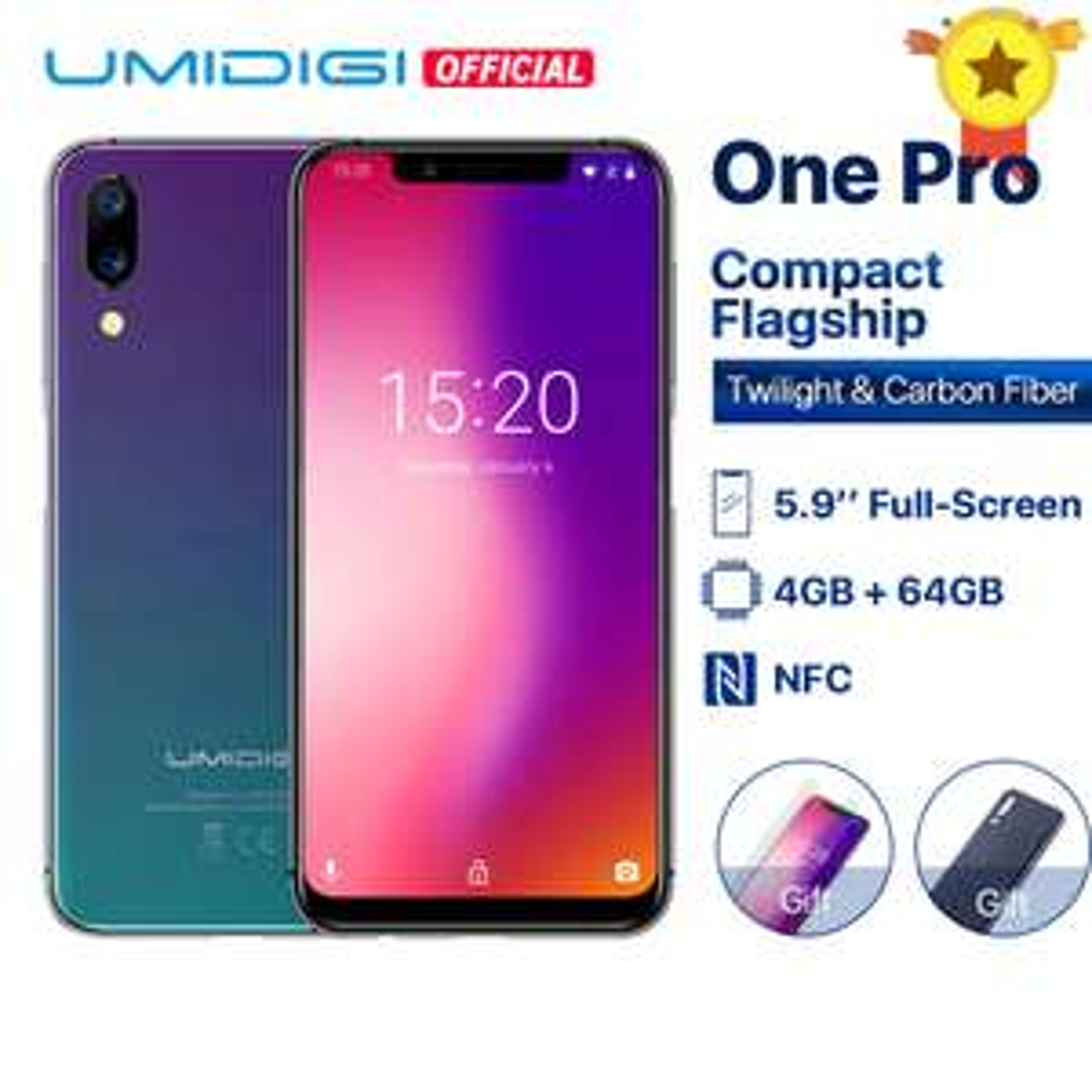 "Smartphone 5.9"" Umidigi One Pro - 4 Go RAM, 64 Go ROM, 4G (B20/B28) + kit de protection"
