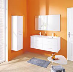 Meuble à suspendre salle de bain 4 tiroirs 120cm + miroir Mahia