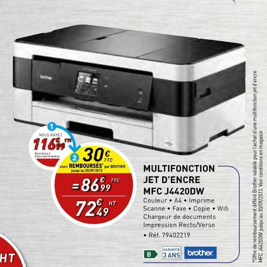Imprimante multifonction Brother MFC-J4420DW jet d'encre (30€ ODR)