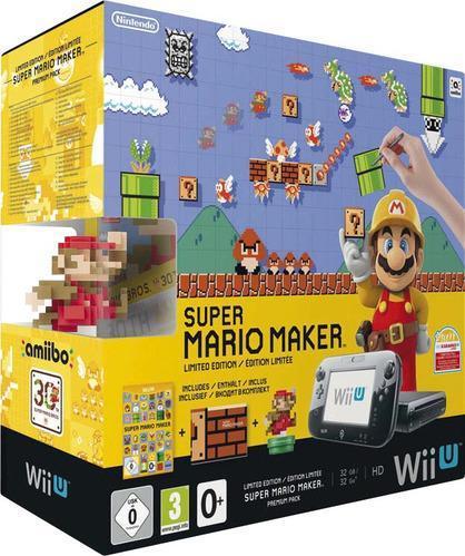 Pack console Wii U 32 Go + jeu Super Mario Maker + Artbook + Figurine Amiibo Mario