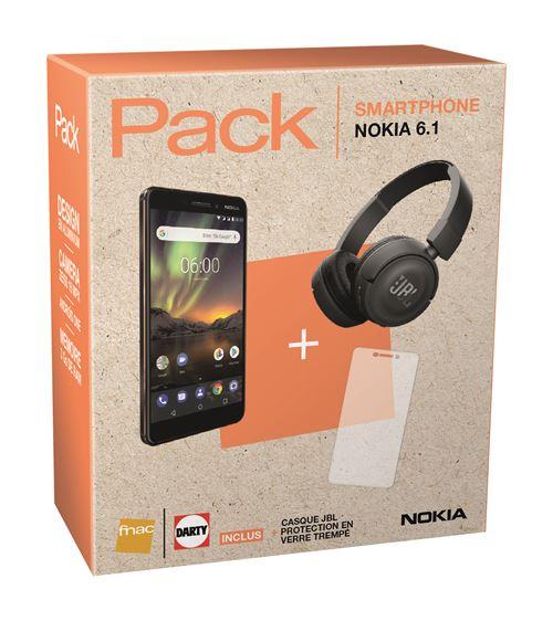 Pack Smartphone Nokia 6.1 Double SIM 32 Go Noir + Casque JBL + Protection d'écran en Verre trempé (Darty Occasion)