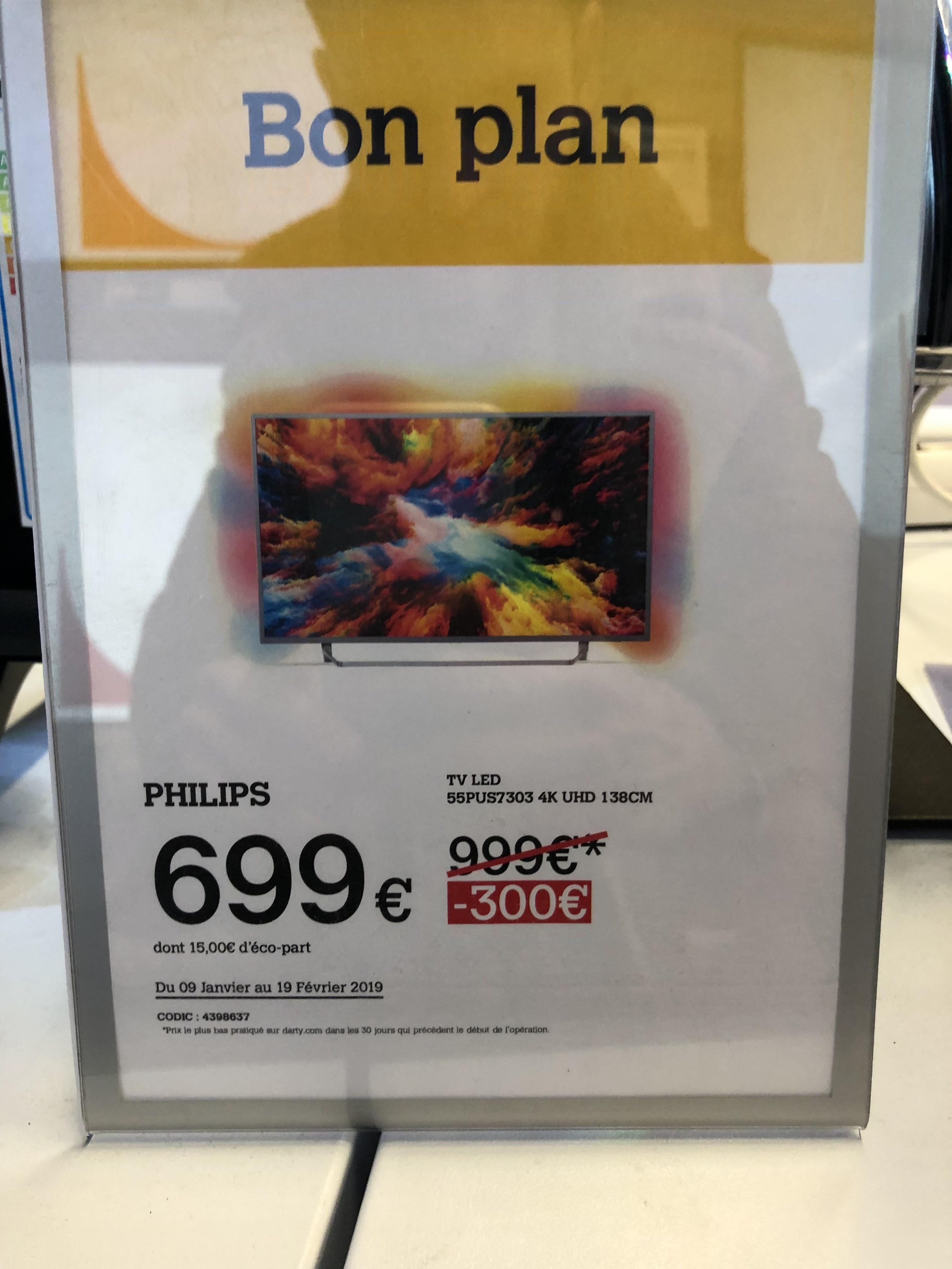 """TV LED 55"""" Philips 55PUS7303 avec Ambilight (3 Côtés) - UHD 4K, HDR, Smart TV (Vénissieux 69)"""