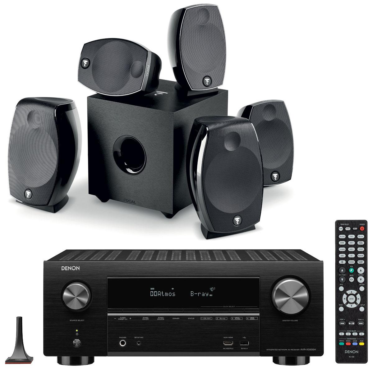 Ampli-tuner Home Cinema 7.2 Denon AVR-X3500H Noir + Pack d'enceintes 5.1.2 Focal Sib Evo