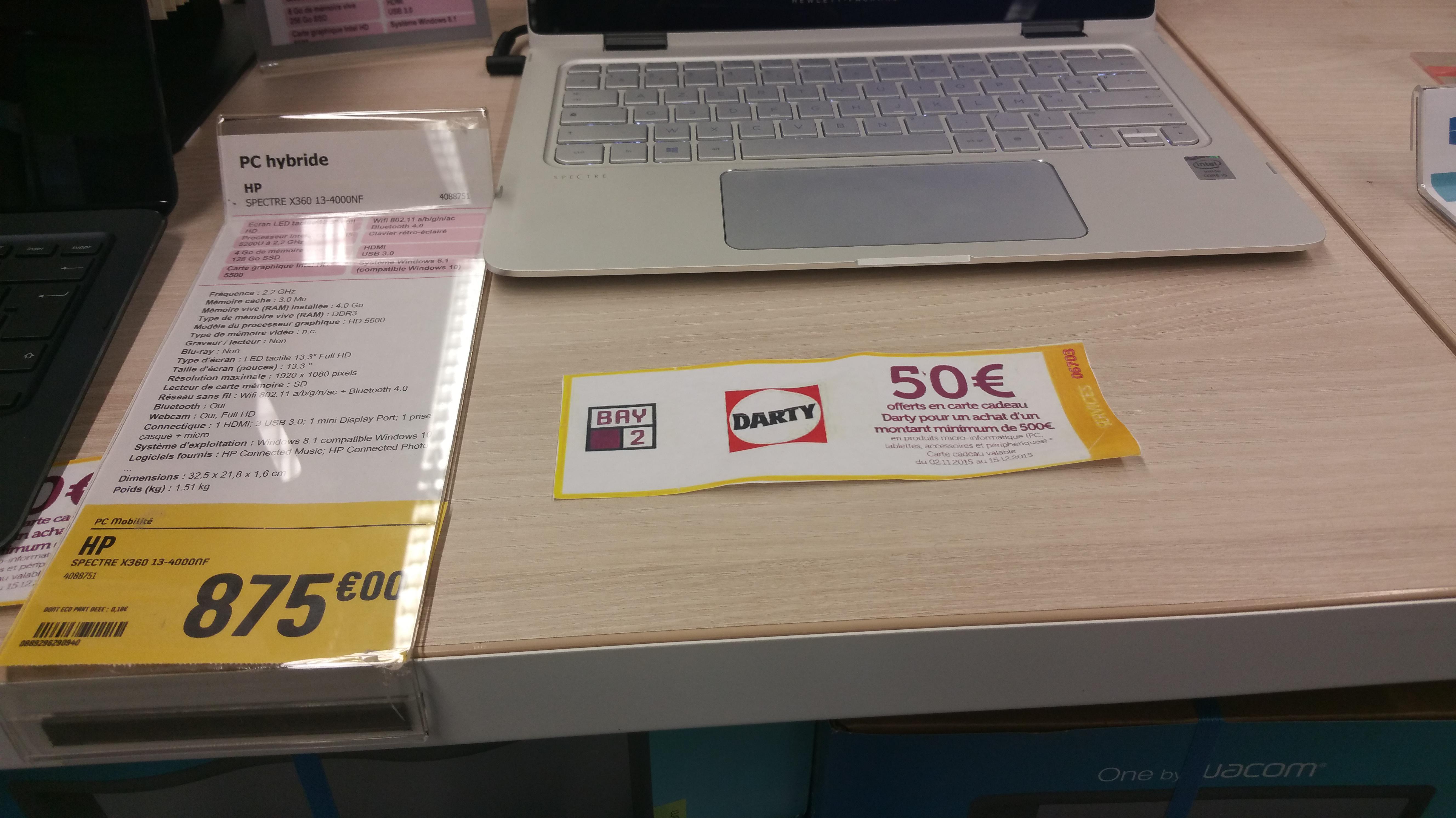 """PC Portable Hybride 13.3"""" HP Spectre x360 13-4000nf + 50€ en carte cadeau"""