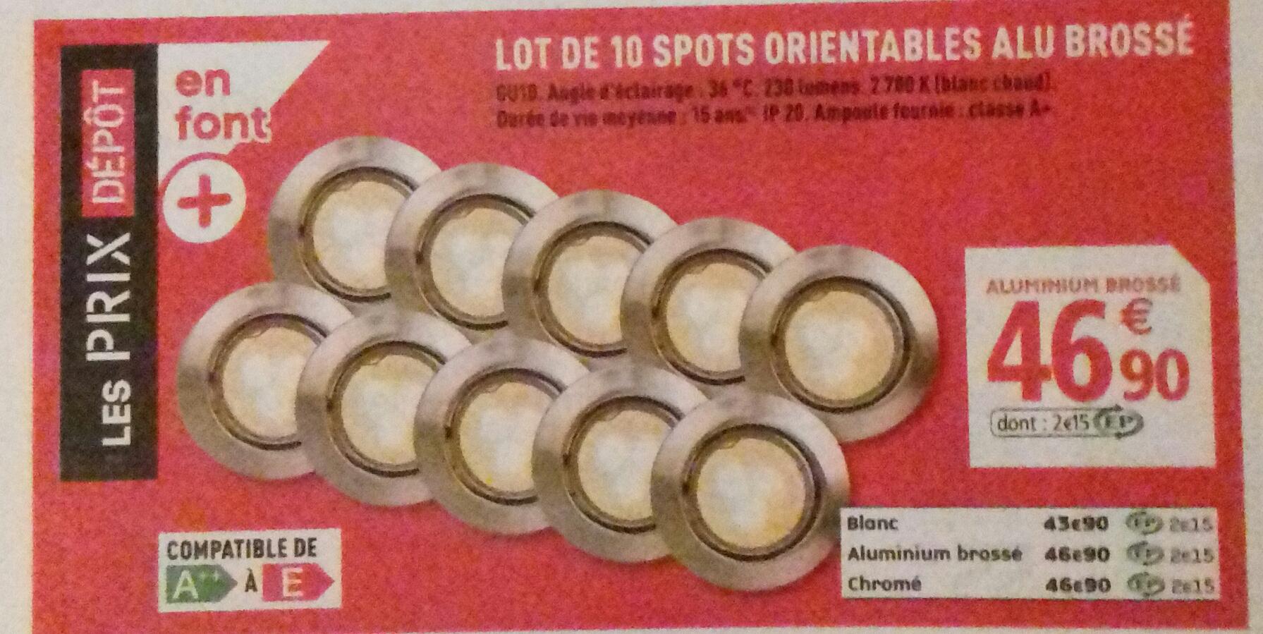 Lot de 10 spots orientables GU10 avec ampoule LED comprise
