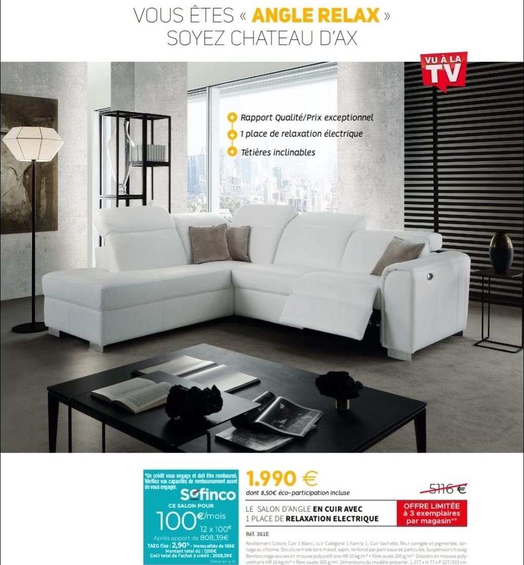 Canapé d'angle cuir Relaxation électrique - Château d'Ax