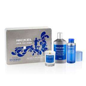 Coffret Nickel Spa For Men : Gel Hydratant (50 ml) + Huile de Massage (200 ml) + 1 Bougie Esteban