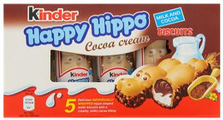 Paquet de 5 biscuits chocolatés Kinder Happy Hippo - 103g