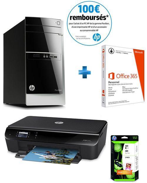 PC de bureau HP Pavilion Desktop 500-449nf + Imprimante HP Envy 4503 + Office 365 Personnel (Avec ODR de 100€)