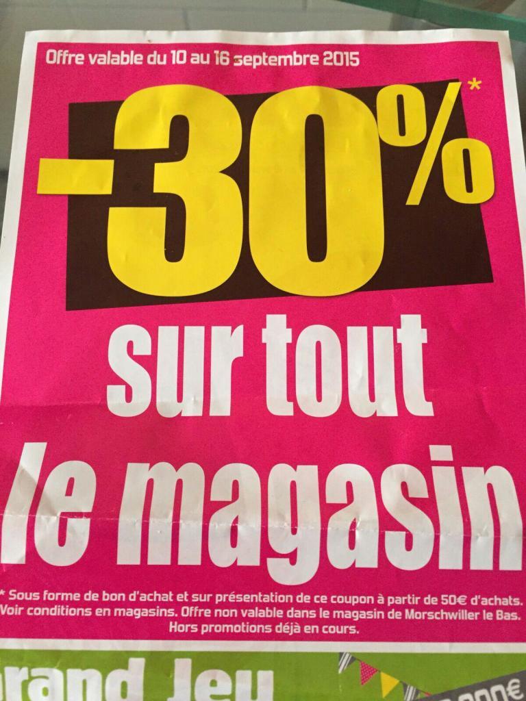 30% de réduction offert en bon d'achat sur tout le magasin dès 50€ d'achats