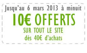 10€ de remise sur 40€ (livraison offerte à partir de 35€ d'achat)
