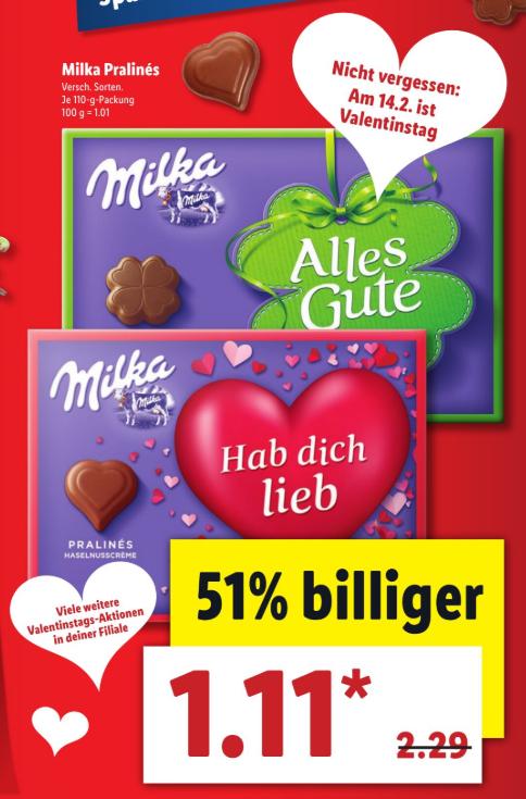 Boîte de chocolat Milka Praliné (110g) - Lidl (Frontaliers Allemagne)