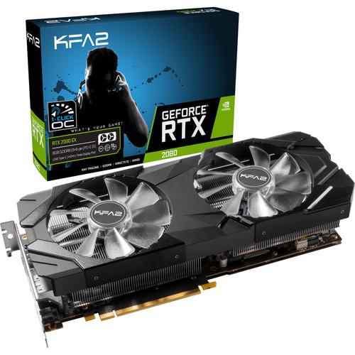 Carte graphique KFA2 GeForce RTX 2080 EX (1-Click OC), 8 Go + 2 jeux offerts (676,71€ via le code FOUDRE)