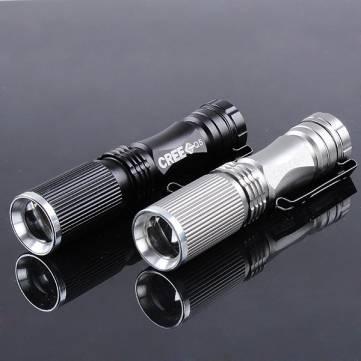 Lampe de poche Cree XPE-Q5 - LED 7W 600 LM zoomable, noire ou argentée