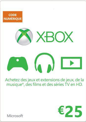 Carte prépayée Xbox Live d'une valeur de 25€