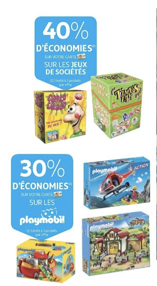 40% crédités sur la carte de fidélité sur les jeux de société et 30% crédités sur la marque Playmobil (frontaliers Luxembourg)