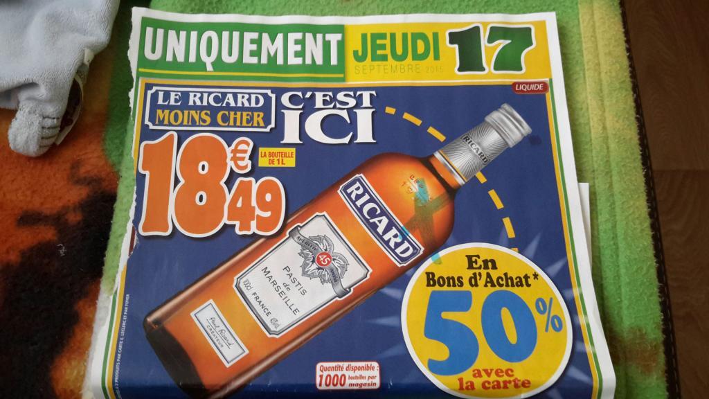 Bouteille de Ricard - 1L (50% sur la carte)