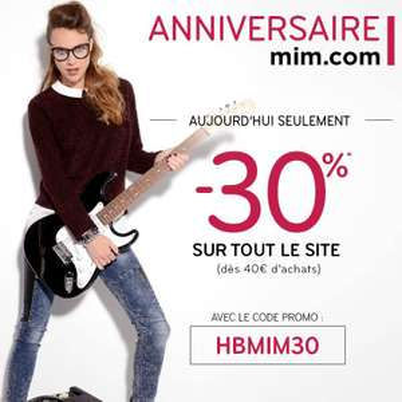 30% de remise dès 40€ d'achat et livraison gratuite en magasin