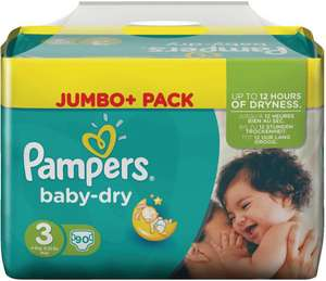 Couches Pampers Baby Dry Jumbo+ (avec 50% sur la carte Waaoh)