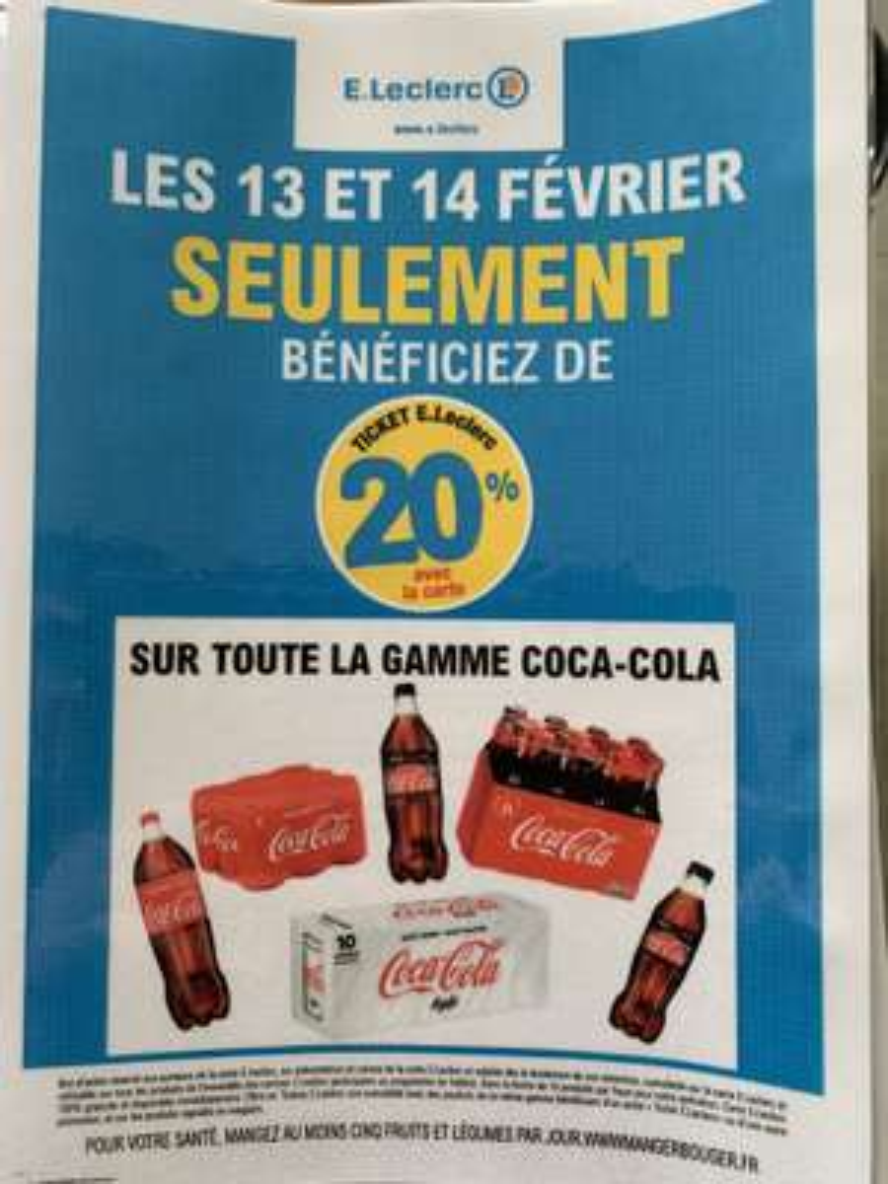 20% en tickets Leclerc offerts pour l'achat d'un produit de la gamme Coca-Cola
