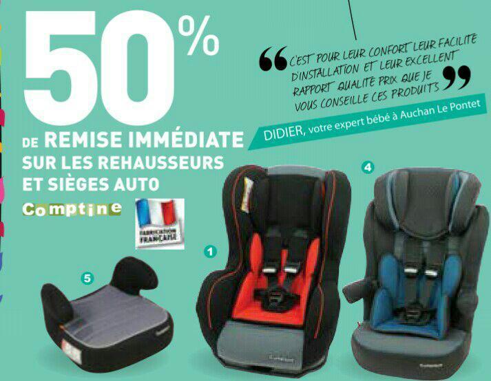 50% de réduction immédiate sur les sièges auto et réhausseurs de marque comptines