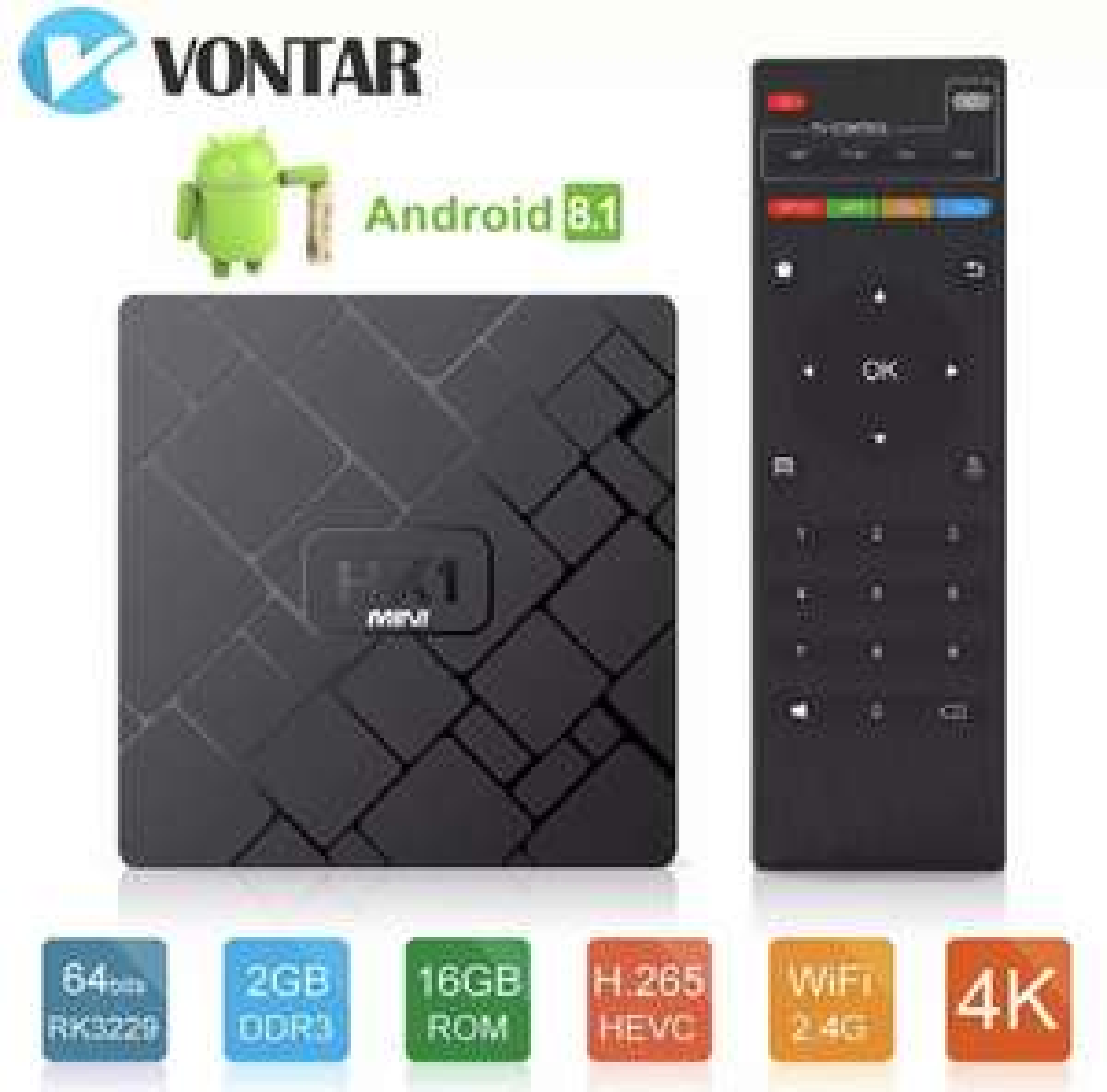 Box Android HK1 Mini - Rockchip RK3229, 2 GO RAM, 16 Go ROM, Android 8.1