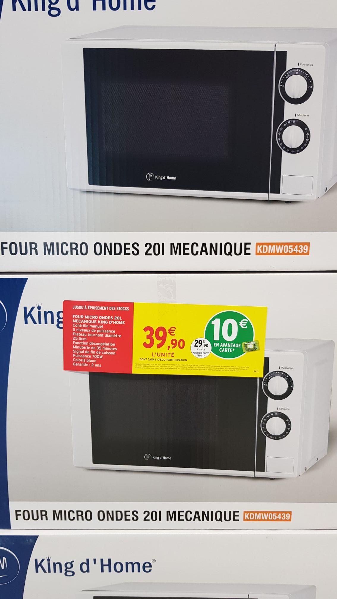 Micro onde King d'home Intermarché KDM05439 - 20L (via 10€ sur la carte fidélité)