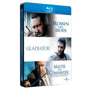 Coffret Russell Crowe Robin des Bois / Gladiator / Master and Commander (boîtier métal) Blu-ray