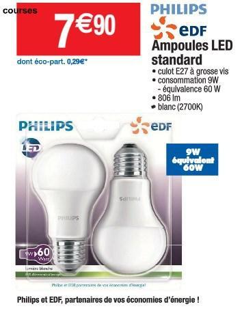 Lot de 2 Ampoules LED Philips E27 9W->60W 2700K