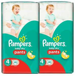 Lot de 2 paquets de couches Pampers baby dry -  2x40 couches