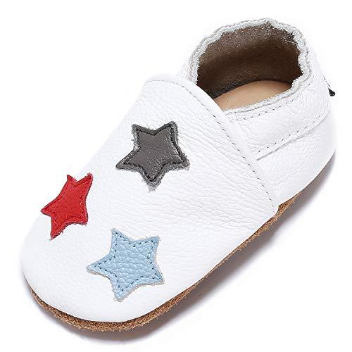 ea5f28181ac3 Chaussons pour bébé Mevimoi - en cuir, blanc avec étoiles, du 12 au 18