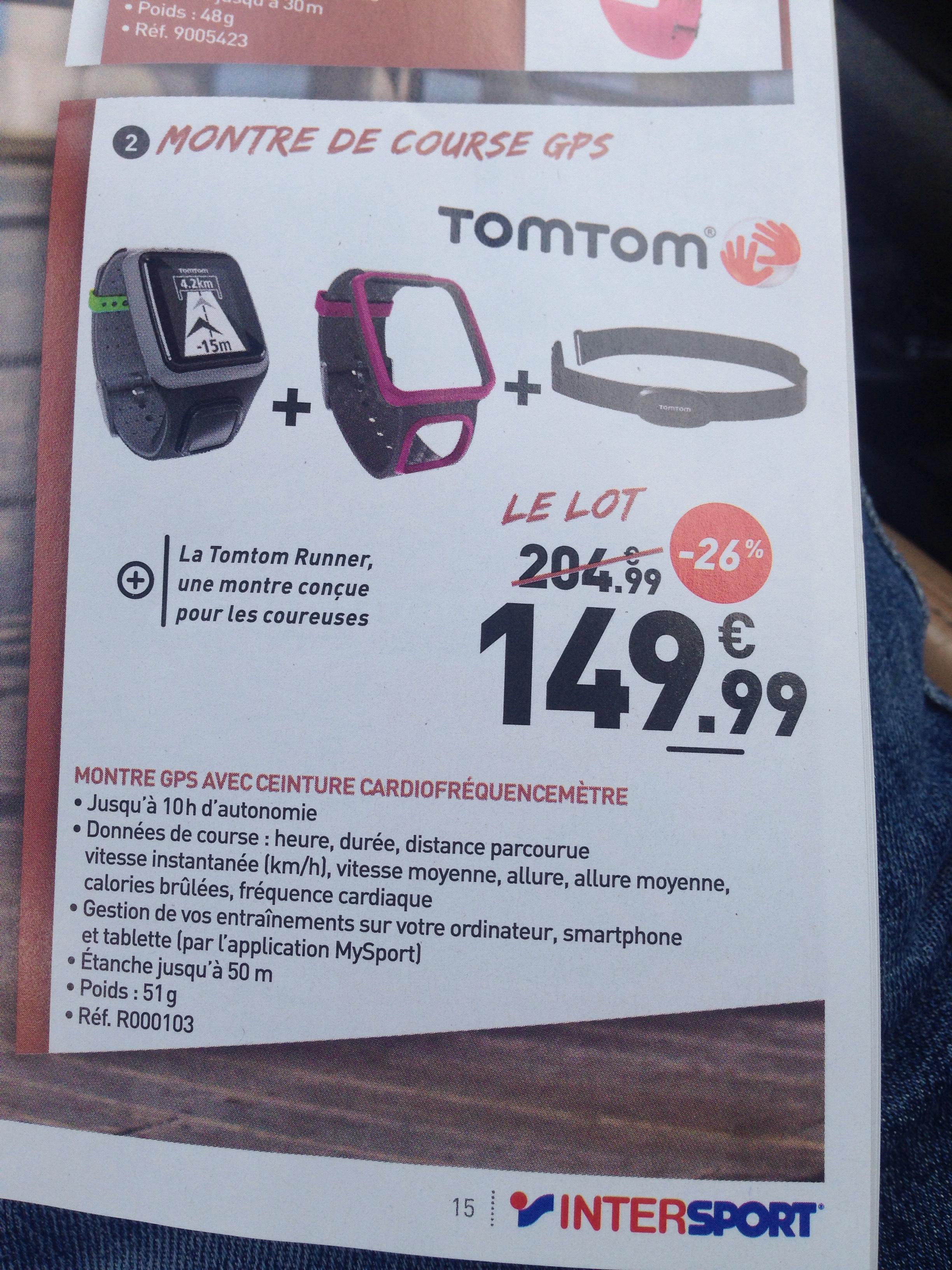 Montre GPS TomTom Runner + Bracelet + ceinture cardio-fréquencemètre  TomTom