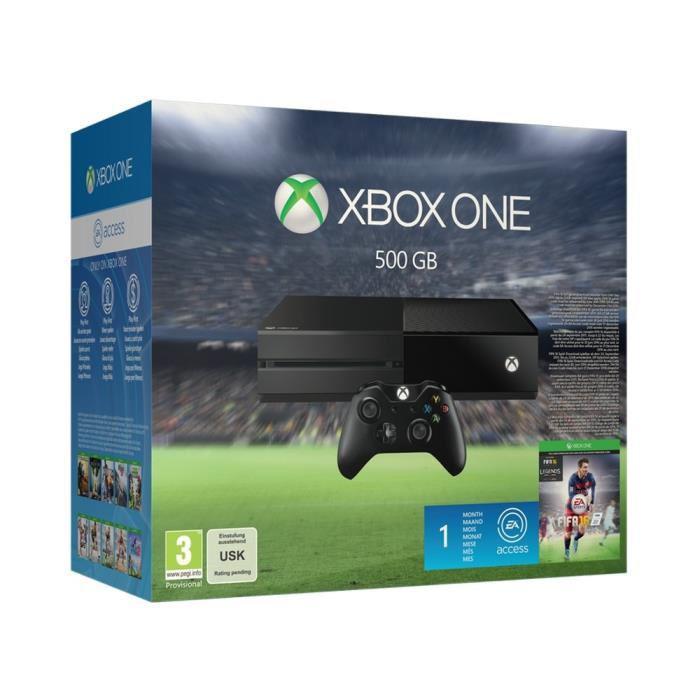 Console Microsoft Xbox One 500 Go + FIFA 16 + 1 mois d'accès à EA acces