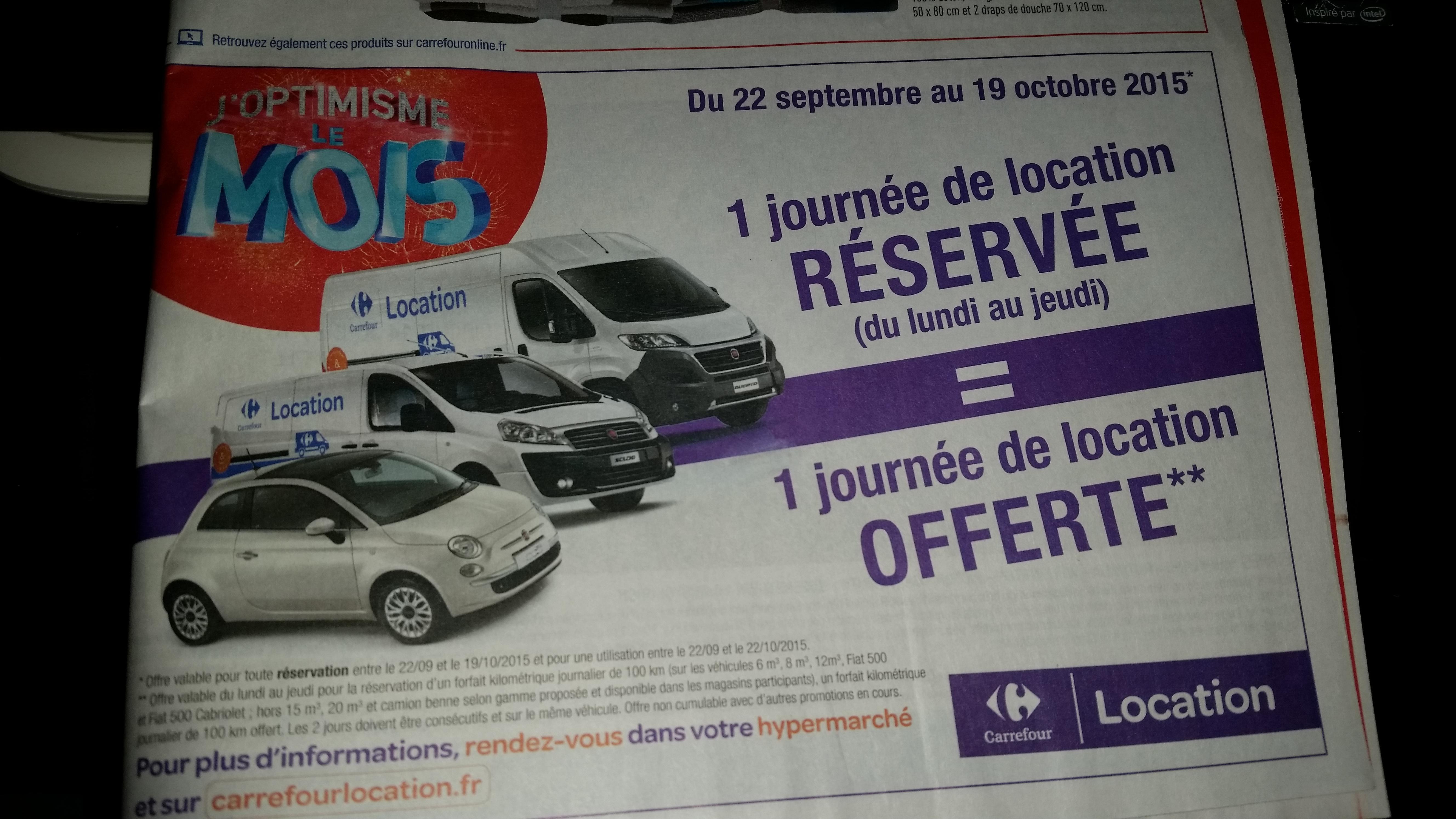1 journée de location offerte pour une achetée (pour la réservation d'un forfait kilométrique de 100km et sur une sélection de véhicules)